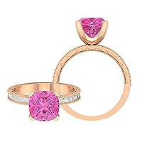 3カラット人工ピンクサファイアヴィンテージ婚約指輪モアッサナイトアクセント (家宝品質), 14K ローズゴールド, Size: 8