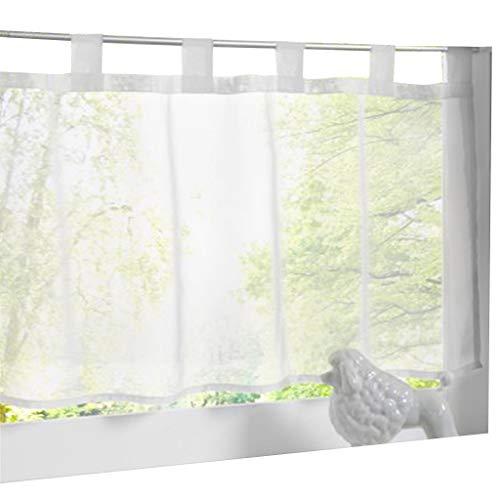 ESLIR Scheibengardine mit Schlaufen Gardinen Küche Bistrogardinen Transparent Stores Vorhänge Kurzgardine Voile Weiß BxH 60x90cm 1 Stück