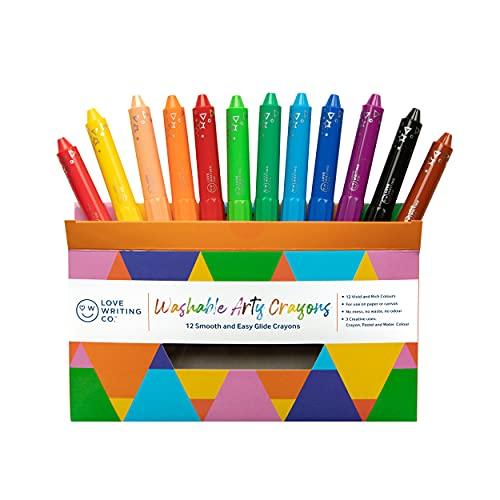 Love Writing Co - Lápices de colores lavables para manualidades (3 en 1), colores pastel y acuarelas, seguro y no tóxico, fácil agarre para colorear, dibujar y escribir