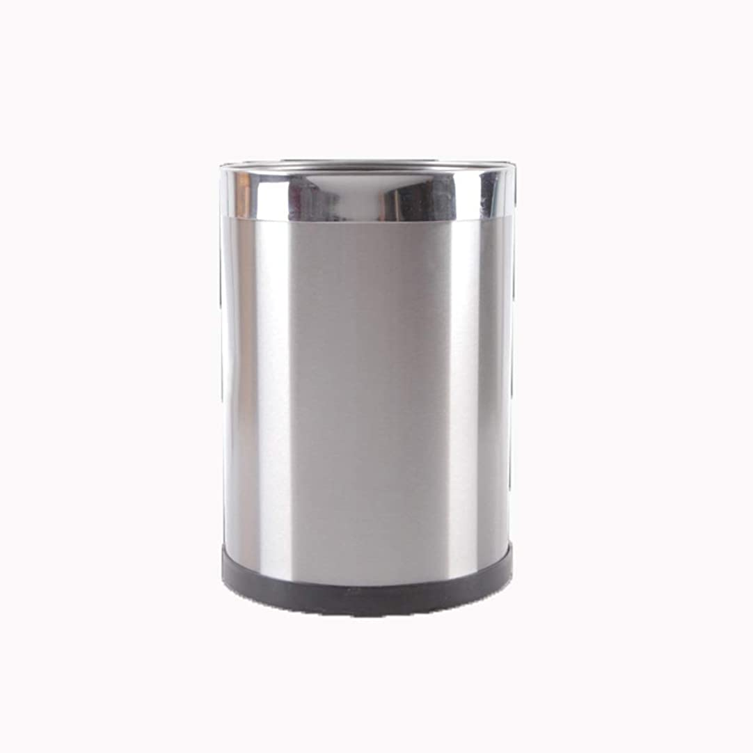 倫理的ピボット換気するゴミ箱メタルゴミ箱厚手のステンレス鋼カバーなしスリップ耐性と掃除が簡単寝室用リビングルームキッチン Hyococ (Color : Silver, Design : C)