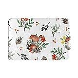 Alfombra de baño para otoño o baño, decoración del hogar, conos de pino rojo, verde, seta, otoño, bohemio, alfombra de ducha de 15.7 x 23.6 pulgadas