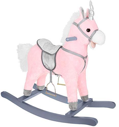 KRUZZEL Cavallo a dondolo morbido con effetti sonori, colore a scelta 9329, colore: rosa/argento