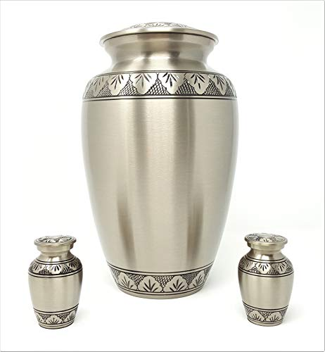Athena Pewter Cremation Urn Set 3 For Human Ashes 1 Adult Large Plus 2 Keepsake Token Urns In Solid Brass By Soulshine Urns Wantitall