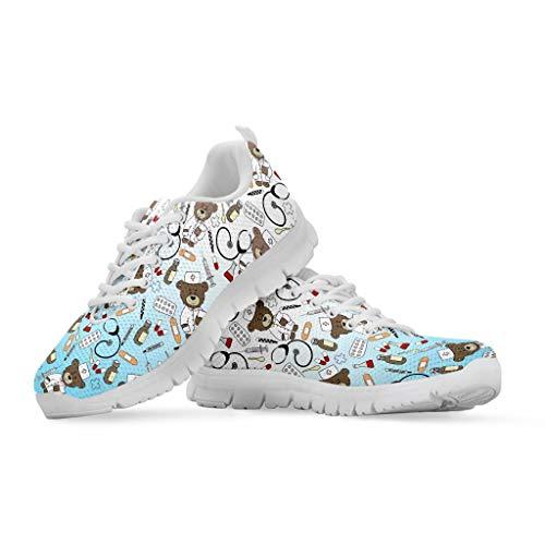 chaqlin Zapatos Deportivos para Mujer Zapatillas de Tenis con Cordones de Malla Zapatos para Correr Ligeros y Casuales 36-48 EU