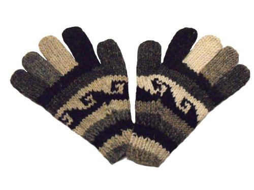 Gants de Couleurs Naturelles tricotés à la Main Fair Trade 100% Laine