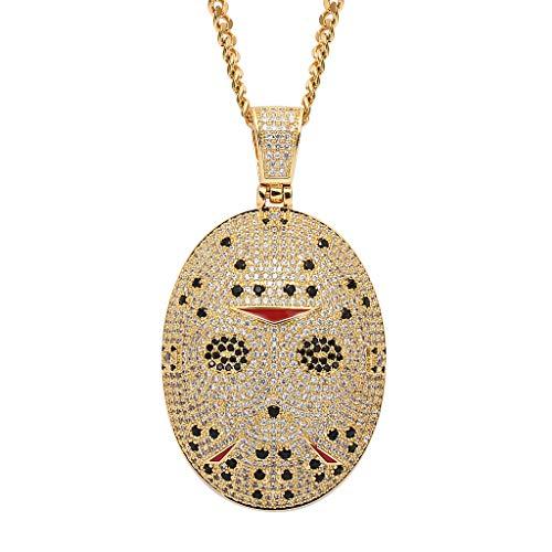 MENGKE Kettensägen-Horror-Maske Micro-Set Zircon Hip-Hop übertriebene Anhänger Tide Marke Herren Halskette Zubehör,Gold