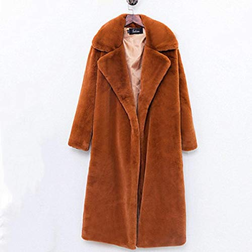 KULIXI Abrigo de Piel de visón de imitación Invierno Abrigos Largos de Piel para Mujer Chaqueta Gruesa Suelta y cálida-marrón_S