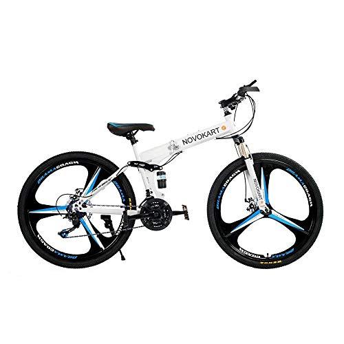 DOMDIL - Mountain Bike Pieghevole per Uomini e Donne Adulti, Bicicletta Sportiva da Montagna, MTB con 21-Stage Shift, 24 Pollici 3 Taglierina, Bianco