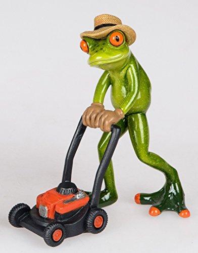 Formano Dekofigur Frosch Gärtner mit Rasenmäher handbemalt