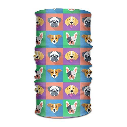 Lindo cachorro icono unisex transpirable diadema bandanas headwear pasamontañas cuello polaina mágica bufanda protección UV para actividades diarias