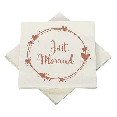 Hochzeitsservietten Just Married Geo Herzen creme / kupfer - 33 x 33 cm (20 Servietten)