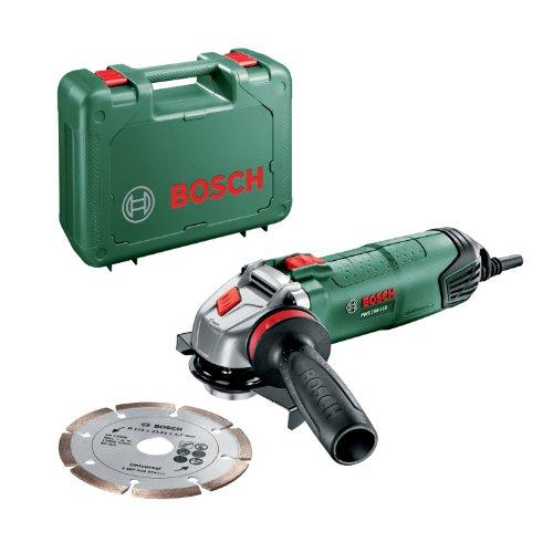 Bosch Miniamoladora PWS 750-115 (con disco de diamante y empuñadura anti vibraciones, 750 W y Ø 115 mm)