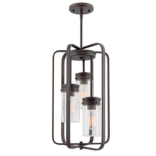 """Kira Home Augustine 20.5"""" Modern 3-Light Large Ceiling Pendant Chandelier, Free Swinging Arms + Cylinder Glass Shades, Oil Rubbed Bronze Finish"""