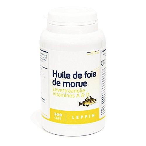 LEPPIN - Huile de FOIE DE MORUE - 200 comprimés - Oméga 3 + Vitamnies A et D - Certifié SANS MÉTAUX LOURDS - Compléments alimentaires naturels
