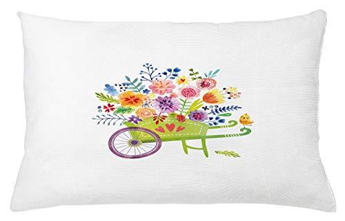 ABAKUHAUS bloemen Sierkussensloop, kruiwagen Bloemen, Decoratieve Vierkante Hoes voor Accent Kussen, 65 cm x 40 cm, Veelkleurig