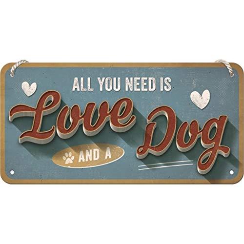 Nostalgic-Art Retro Hängeschild PfotenSchild – Love Dog – Geschenk-Idee für Hunde-Besitzer, aus Metall, Vintage-Design zur Dekoration, 10 x 20 cm