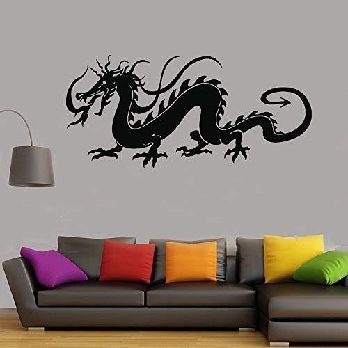 TYLPK Dragon Asian Oriental Symbol Vinyl Wandtattoo Viel Glück Totem Schwarz 91x42cm