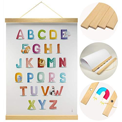 Holz Bilderrahmen hochwertig aus Marupa für Wandbilder, Poster und Fotos magnetisch DIN A3 | Posterleiste Posterschiene Holzrahmen Bilderleiste Klemmleiste (30cm)