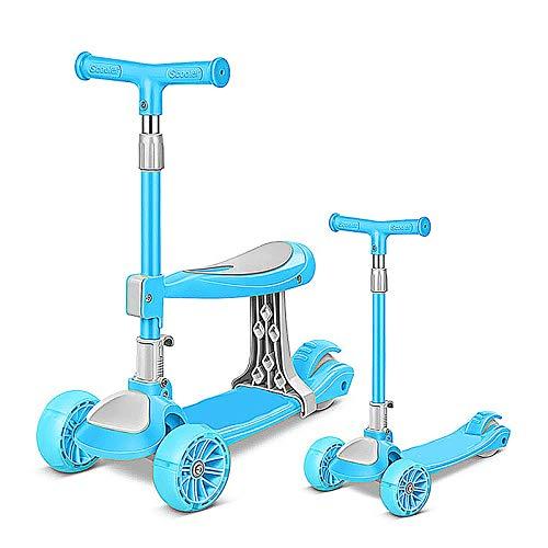 LABYSJ Scooter de 3 Ruedas con Asiento ExtraíBle, Ruedas Intermitentes LED y Scooter para NiñOs con Manillar Ajustable, Plegable A 90 ° y Modos de 3 Velocidades, Scooters para NiñOs Y NiñAs,Azul