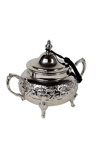 Orientalische Zuckerdosen Dosen aus Messing in Silber Afsana 12cm | Marokkanische Minzdose Tee Kaffee Dose klein | indische Vintage Vorratsdose Gewürzdose rund | Orientalische Dekoration auf dem Tisch