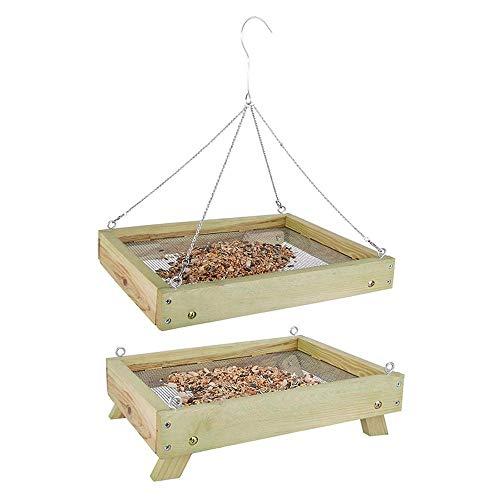 Rivanto® Bodenfuttertisch für Wildvögel, B35,4 x L27,8 x H11,2 cm, Futterstation, Futterstelle für Wildvögel, stehend oder hängend
