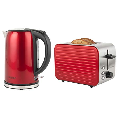 Prestige COMBO-5910 Pearlescent Cordless Kettle and 2-Slice Toaster Set, Red, Stainless Steel