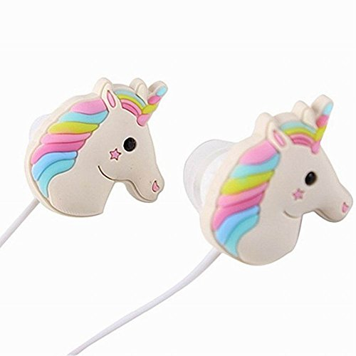 Jerrial Unicorn Earphone Best Gift Animal Unicorn Earbuds Headphones Cartoon Earphone for Apple, Samsung, HTC, Android Smartphones Mp3