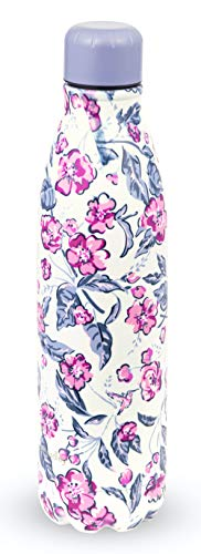 Vera Bradley Stainless Steel Insulated Water Bottle, 17 Ounce Travel Tumbler with Lid for Sports, Gym, School, Hummingbird Ditsy