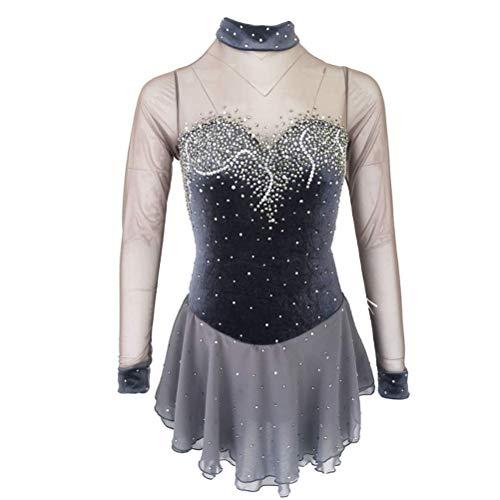 YunNR Vestido de Competicin de Patinaje Artstico para Damas/Nias Cuello Alto Manga Larga Disfraz de Danza de Patinaje sobre Hielo Terciopelo Costura De Malla con Cristales Brillantes,Child6