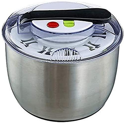 ZHIRCEKE Escurridor de ensalada de acero inoxidable de gran capacidad, fácil de retorcer, lavar y secar verduras, con función de parada de botón