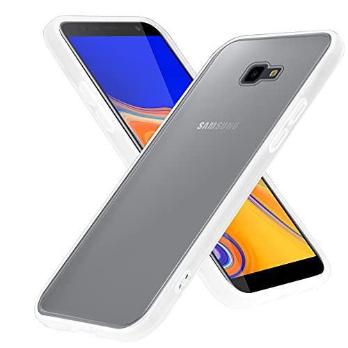 Cadorabo Hülle kompatibel mit Samsung Galaxy J4 Plus / J4 Prime / J4 CORE in Matt Transparent - Handyhülle mit TPU Silikon Innenseite & Matter Kunststoff Rückseite - Schutzhülle Hybrid Hardcase