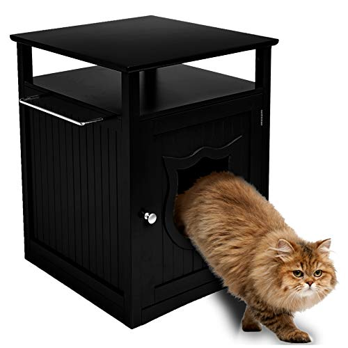 Sweet Barks Nightstand Pet House, Litter Box Furniture Indoor Pet Crate, Litter Box Enclosure, Cat Washroom (Black)