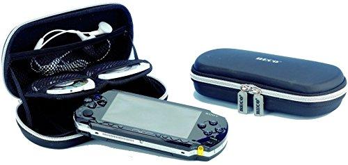 BECO PSP-Box für tragbare PSP-Spielekonsolen, innen schwarzes Mesh-Material für Zubehör, mit 2 elastischen Gummibändern als Halterung für die Konsole und 2 weiteren Gummibändern zur Halterung des Deckels und Kratzschutz, Material: EVA, Farbe: Schwarz, Innenmaße: 170 x 75 x 35 mm, farbige Hängepackung