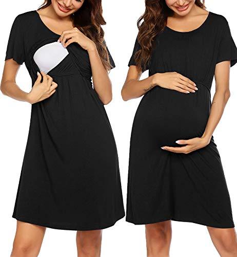 Unibelle Damen Nachthemd Zum Stillen Stillnachthemd Modal Geburtskleid Stillpyjama Umstandskleid Kurzarm Schwarz M