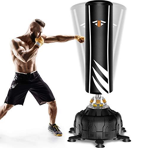 Boxsack Stehend 181cm Freistehender Standboxsack, 2021 Version-Schwerer Boxsack-Ständer, Metall Frühling-Basis mit Versenkbarer Saugnapf 13pcs, MMA Boxpartner Hochleistungs Sack für Profis/Anfänger