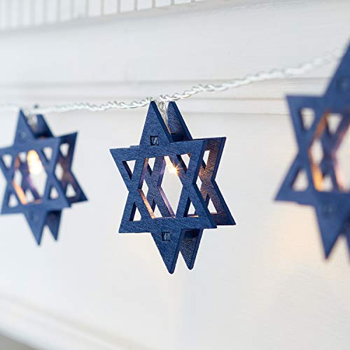 Lights4fun, Inc. 12 Hanukkah Star of David Battery Operated LED Indoor String Lights