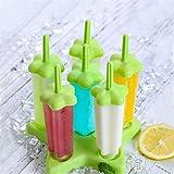 Goodlucky365 - 2 Set di 12 stampi per ghiaccioli riutilizzabili, con Base per appoggiare Gli stampi a Forma di Stella, con 1 Spazzola in Spugna per pulirli, stampi in plastica, Colore: Verde