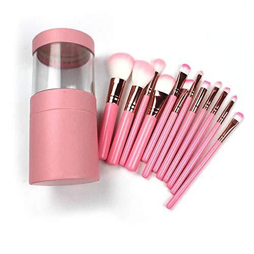 ZYC Pinceaux de Maquillage Set Ombre à Paupières Poudre Eyeliner Cils Lèvres Maquillage Pinceau Trousse À Outils,Rose