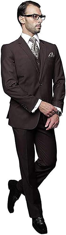 Men's 4PC Brown Formal Business Suit Reg Fit Single Breasted Vest Pants Tie Set