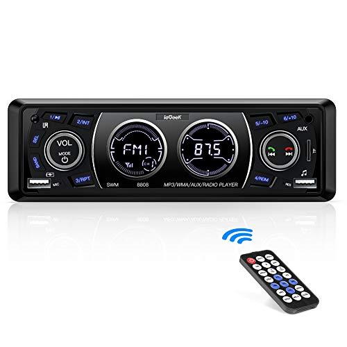 Autoradio Bluetooth Coche ieGeek, Estéreo 4×60W, Soporte AUX/WMA/MP3/EQ/USB/SD/Control Remoto, Manos Libres, Pantalla LCD Dual, Capacidad para 18 Emisoras de Radio, 1 DIN