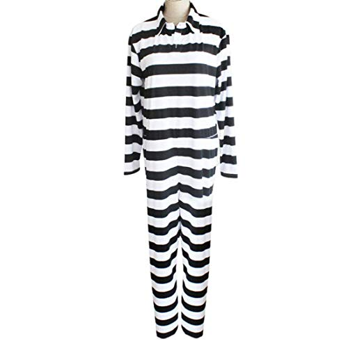 Cosplay Life Nanbaka Jyugo Prison No.15 Prison Suit Mens Full Jumpsuit Halloween Jail Costume Black and White