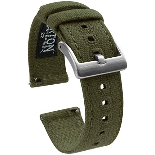 20mm Army Green - BARTON Canvas Quick Release Watch Band Straps - Choose Color & Width - 18mm, 19mm, 20mm, 21mm, 22mm, 23mm, or 24mm