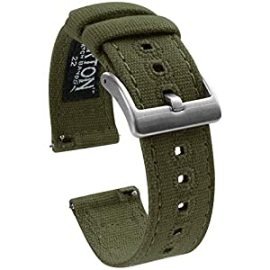 BARTON Watch Bands – Canvas Quick Release Watch Straps – Choose Color & Width – 18mm, 19mm, 20mm, 21mm, 22mm, or 23mm