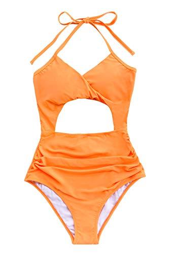 CUPSHE Women's Neon Orange Twist Cutout Halter One Piece Swimsuit, XL