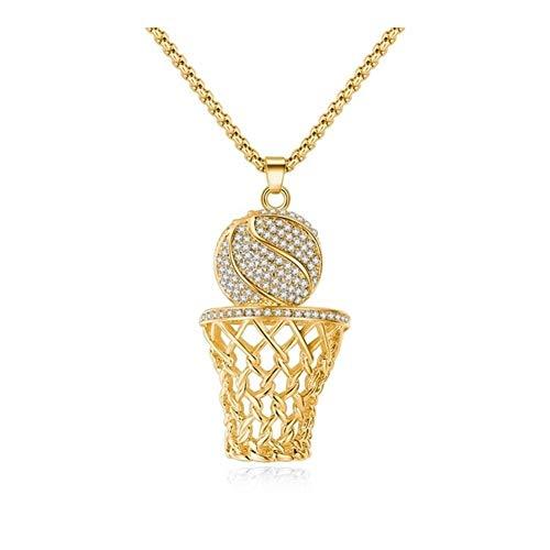 AdorabFruit Présent Pendentif Marco de la joyería Collar de Baloncesto de los Hombres circón Oro/Plata del Color Colgante de Acero Collar Hombres Deportes (Color : 60cm, Size : Cuban Chain) ⭐