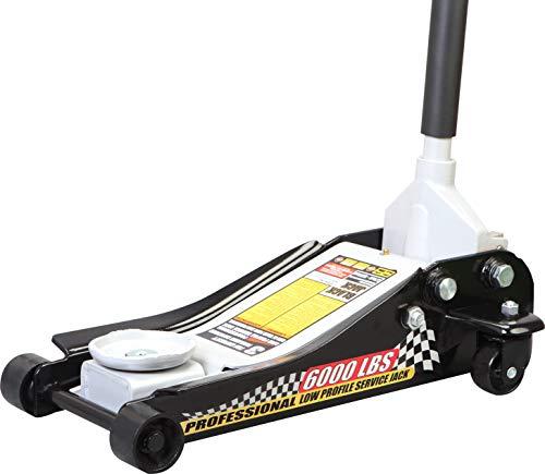 Torin Blackjack T83505W Hydraulischer Low Profile Stahl Racing Bodenheber mit Einzelkolben Quick Lift Pumpe, 3 Tonnen (2,7 kg) Kapazität, schwarz