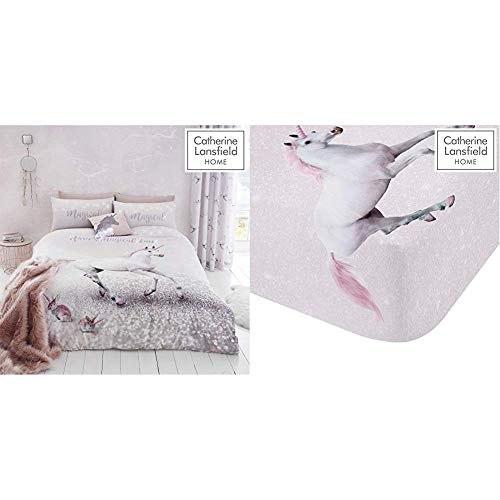Catherine Lansfield Enchanted Unicorn Easy Care Single Duvet Set Pink & Lansfield Enchanted Unicorn Easy Care Single Fitted Sheet Pink
