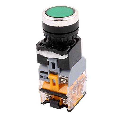Aexit Interruptor de botón pulsador DC 24V CA 380V 10A 1 NO + 1 NC (model: X2101VIX-4566YC) Interruptor w Luz