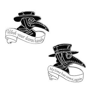 Plague Doctor Enamel Pin Set,Beak Face Steampunk Brooches Cartoon Badge for Bag Lapel Pin Buckle Jewelry Gift