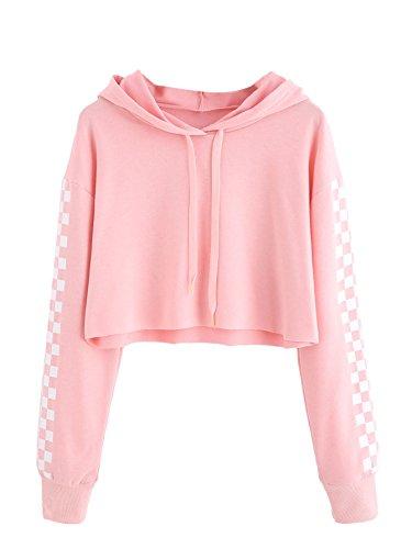 MakeMeChic Women's Pineapple Embroidered Hoodie Plaid Crop Top Sweatshirt Pink-1 S